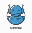 retro robot logo vector image vector image