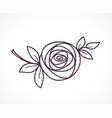rose stylized flower symbol outline icon vector image