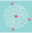 round labyrinth maze game concept of love vector image vector image