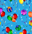 Seamless gifts and balloons pattern over blue vector image vector image