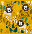 seamless jungle pattern with lions and tropical vector image vector image
