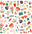 seamless pattern with elements for valentines day vector image vector image