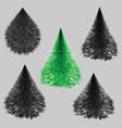set fluffy christmas black and green christmas vector image vector image