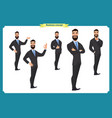 set of business man presenting in various action vector image