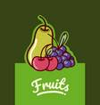 set of fruits cartoon vector image vector image