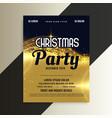 shiny golden premium christmas invitation party vector image vector image