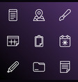 stationary icons line style set with clipboard vector image
