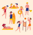 summer activities on the beach sport and leisure vector image