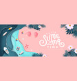 summer banner design with paper cut tropical vector image