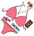 swimsuit watches lipstick color accessories vector image vector image