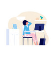 tired woman home office freelance working with vector image vector image