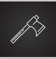 tool axe line icon on black background for graphic vector image