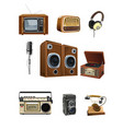 vintage media stuff icons vector image vector image