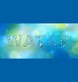 water word designed with realistic water drops vector image vector image
