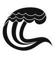 wave nature icon simple black style vector image vector image