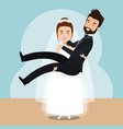 wife lifting housband married characters vector image