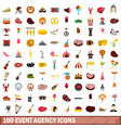 100 event agency icons set flat style vector image vector image