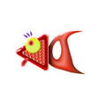 abstract red little glossy fish cartoon funny vector image vector image