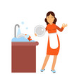 beautiful young brunette woman housewife washing vector image vector image
