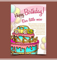 birthday cake decorated with car banner vector image vector image