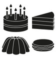 black and white 4 dessert silhouette set vector image