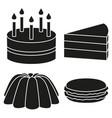 Black and white 4 dessert silhouette set
