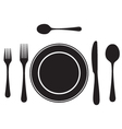 Black silhouettes of cutlery tableware vector image vector image