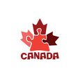 Canadian maple leaf on puzzle pieces vector image vector image