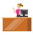 cashier on counter with monitor computer vector image