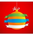 Christmas ball with ribbons and text space vector image vector image