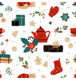 christmas doodle pattern winter holiday home vector image