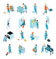 cleaning service isometric set vector image vector image