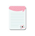 cute card with place for notes trendy lined vector image vector image