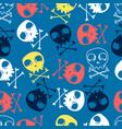 cute skulls seamless pattern print design vector image