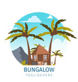 drawing image the bungalow located island vector image vector image
