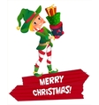 elf Santa s assistant with gifts isolated on a vector image