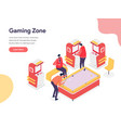 gaming zone concept isometric design concept of vector image vector image