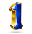 golden and blue number 1 isolated on white vector image vector image