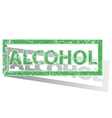 Green outlined ALCOHOL stamp vector image