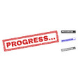grunge progress scratched rectangle watermarks vector image vector image
