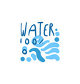 hand drawn signs of pure water waves for logo text vector image