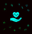 hand holding heart medical icon graphic vector image