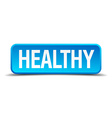 Healthy blue 3d realistic square isolated button vector image vector image