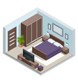 isometric minimalist bedroom interior with double vector image
