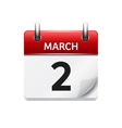 March 2 flat daily calendar icon Date and vector image vector image