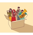 Music and musicians people group in box color vector image