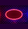 neon frame on a brick colored wall template vector image vector image