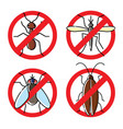no insects flat icons set insecticide symbols vector image