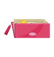 pink wallet with cash vector image vector image