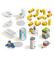 plumber isometric icons set vector image vector image